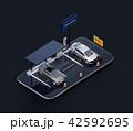 スマートフォンにソーラーパネル、充電設備完備の駐車場。カーシェアリングのコンセプト 42592695