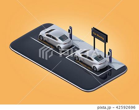 スマートフォンにカーシェアリング専用駐車場にある電気自動車のイメージ 42592696