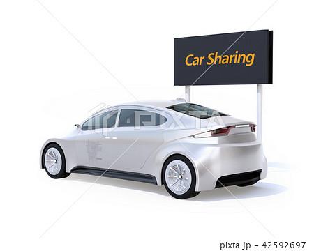 白バックにカーシェアリング用電気自動車の後ろイメージ 42592697