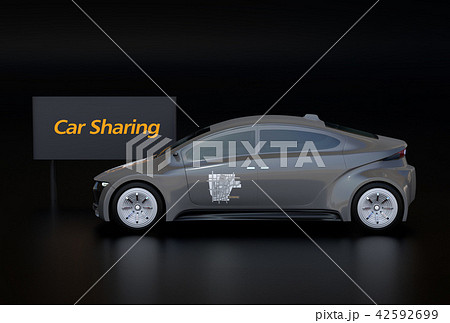 黒バックにカーシェアリング看板と電気自動車の側面イメージ 42592699