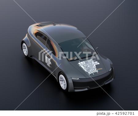 黒バックにカーシェアリンググラフィックステッカーがある電気自動車のイメージ 42592701