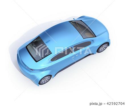 白バックにメタリックブルーの電気自動車の鳥瞰イメージ 42592704