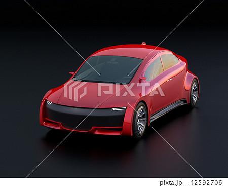 黒バックにメタリックレッドの電気自動車のイメージ 42592706
