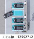 電気自動車 カーシェアリング 駐車場のイラスト 42592712