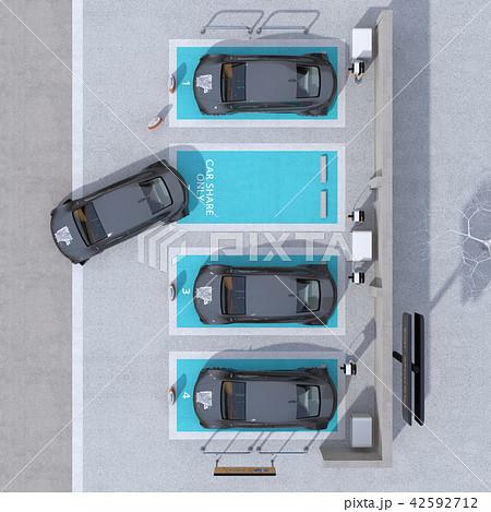カーシェアリング専用駐車場に充電している電気自動車の鳥瞰イメージ 42592712