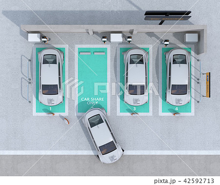 カーシェアリング専用駐車場に充電している電気自動車の鳥瞰イメージ 42592713