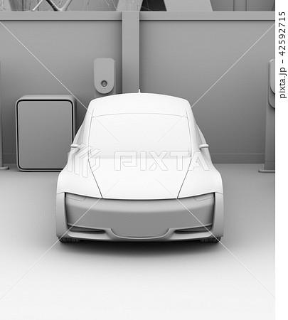 カーシェアリング専用駐車場に充電している電気自動車のクレイレンダリングイメージ 42592715