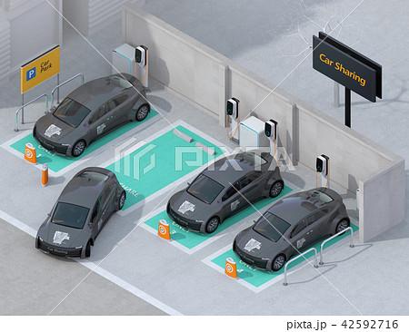 カーシェアリング専用駐車場に充電している電気自動車のアイソメイメージ 42592716