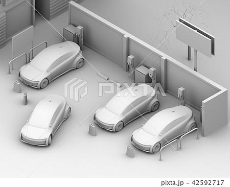 カーシェアリング専用駐車場に充電している電気自動車のアイソメクレイレンダリングイメージ 42592717