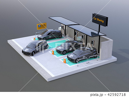 グレイバックにカーシェアリング専用駐車場に充電している電気自動車のイメージ 42592718