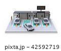 白バックにカーシェアリング専用駐車場に充電している電気自動車のイメージ 42592719
