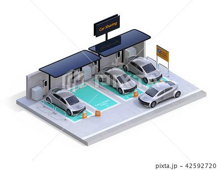 白バックにカーシェアリング専用駐車場に充電している電気自動車のアイソメイメージ 42592720