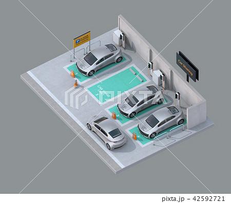 カーシェアリング専用駐車場に充電している電気自動車のアイソメイメージ 42592721