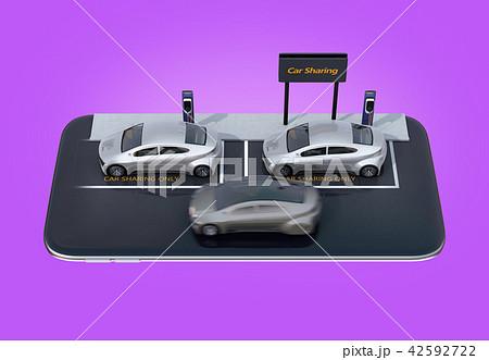 スマートフォンにカーシェアリング専用駐車場にある電気自動車のイメージ 42592722