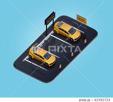 スマートフォンにカーシェアリング専用駐車場にある電気自動車のイメージ 42592724