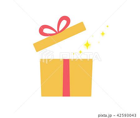 キラキラが飛び出すかわいいプレゼントボックスのイラスト素材 42593043