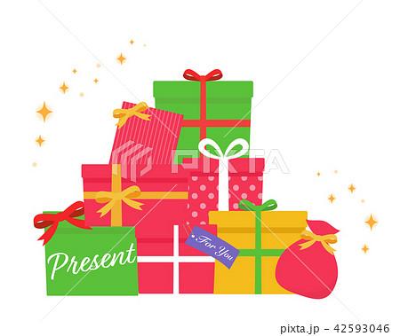 クリスマス向け山積みのかわいいプレゼントがたくさんのイラスト
