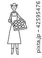 女性 笑顔 線画のイラスト 42595476
