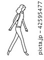 女性 笑顔 線画のイラスト 42595477