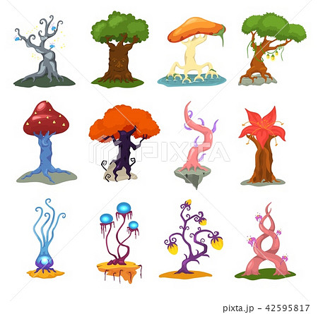 magic tree vector fantasy forest with cartoon treetops and magical