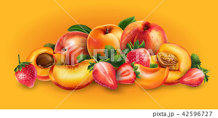 Apricot, peach and strawberry 42596727