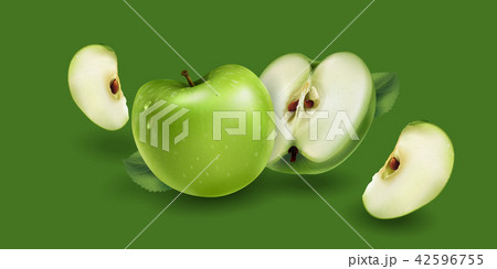 Green apples on a green background 42596755