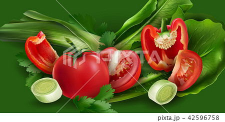 Tomatoes, pepper, onions and lettuce 42596758