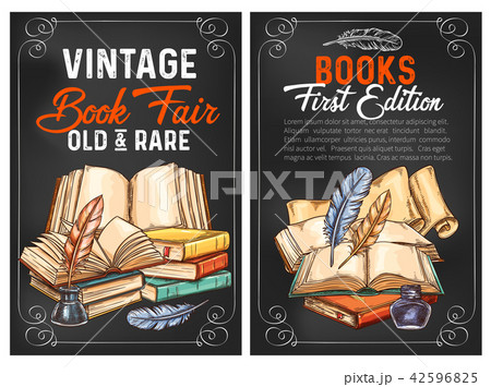 Vector sketch posters or rarity vintage books 42596825