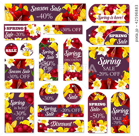 Vector flowers tags for spring sale 42596883