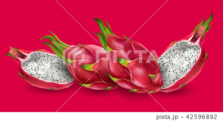 Dragon fruit on bright red background 42596892