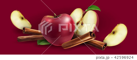 Cinnamon and red apples 42596924