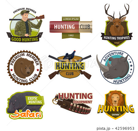 Vector icons of hunting club or hunt open season 42596953