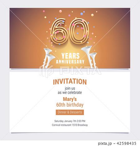 60 years anniversary invitation vectorのイラスト素材 42598435 pixta