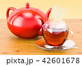 Cup of tea with teapot on the wooden table 42601678