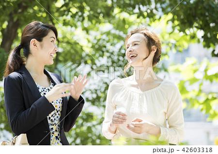 外国人女性と会話する日本人女性 42603318