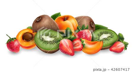 Apricot, strawberry and kiwi 42607417