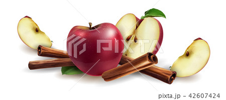Cinnamon and red apples 42607424