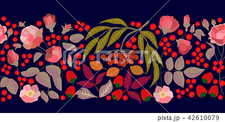 Wide border with rowan, strawberries and leaves. 42610079