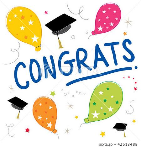 congrats text balloon color graduate vector designのイラスト素材
