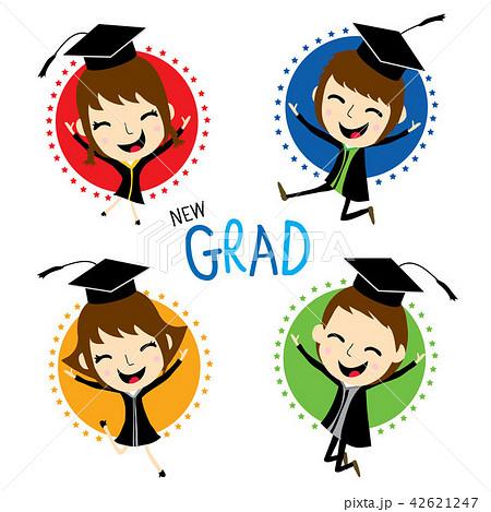 congratulation new graduate cute cartoon vectorのイラスト素材