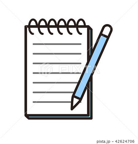 水色のメモとペン 42624706