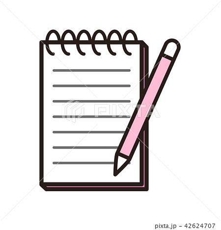 ピンクのメモとペン 42624707
