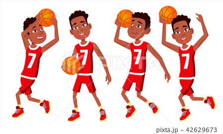 Basketball Player Child Set Vector. In Action. Athlete In Uniform With Ball. Team Action Stickers 42629673