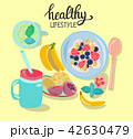 Hand drawn illustration with healthy breakfast 42630479