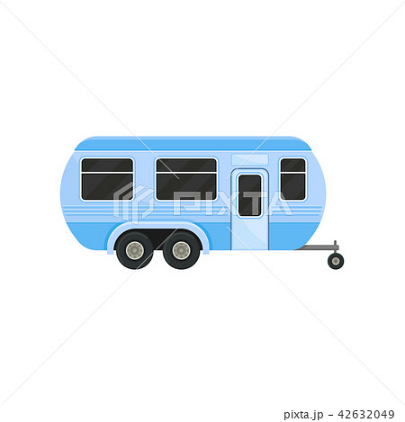 Flat vector icon of blue camper trailer for family travel. Caravan with door and black tinted 42632049