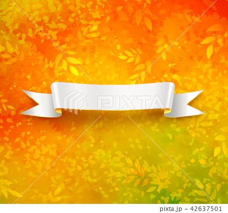 scroll banner on autumn backgroundのイラスト素材 42637501 pixta