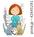 少女 ねこ ネコのイラスト 42645291