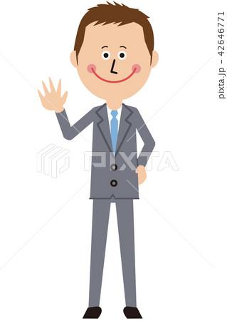 ポップなグレーのスーツの短髪ビジネスマンが挨拶 42646771