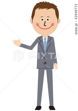 ポップなグレーのスーツの短髪ビジネスマンがご案内 42646772