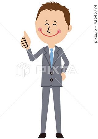 ポップなグレーのスーツの短髪ビジネスマンがいいね! 42646774